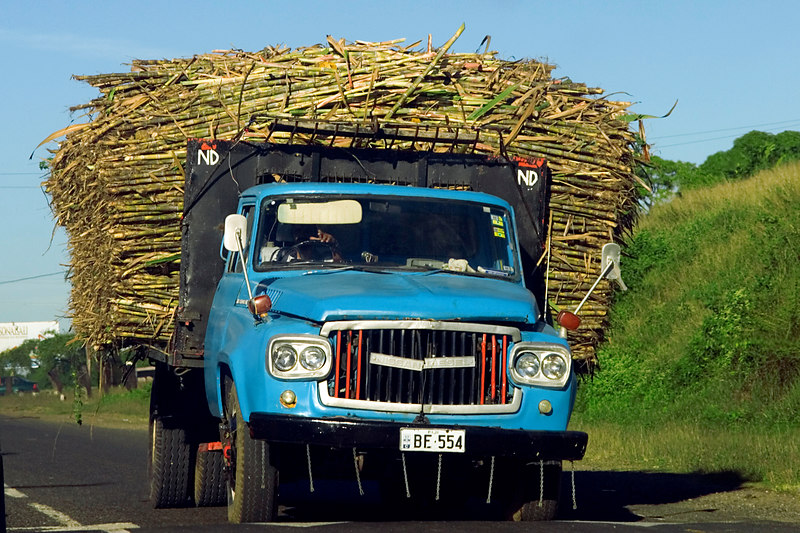 Truck hauling sugar cane down the Queens Highway, from Nadi to Pacific Harbour.