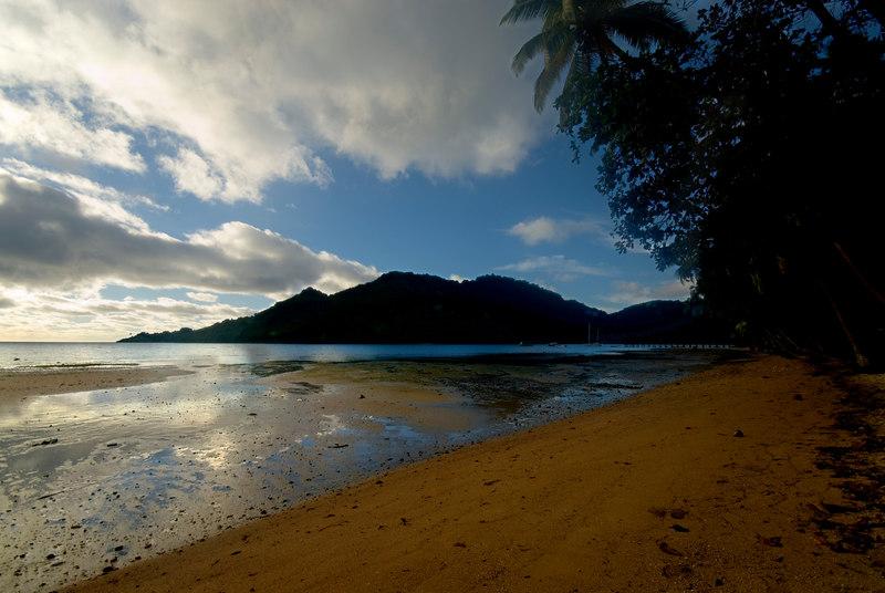 Sunrise on beach , Beqa Island.