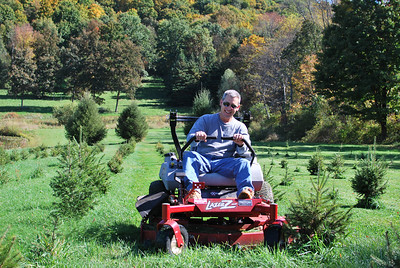 Joe mowing around his Christmas trees.