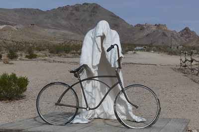 Rhyolite bicycle sculpture, 11-08-2017.  These sculptures were made so a small person could stand inside.