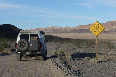 Deep sand ahead in Death Valley, but our van can handle it!  11-06-2017.
