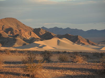 Ibex dunes in Death Valley at sunset, as seen from our camp.  11-06-2017, photo by Sherry.
