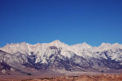 Looking up toward Mt. Whitney  (in the middle right half of the frame) on the way to Lone Pine, CA.