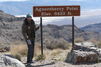 We drove to Aguereberry Point, where you can see the both lowest point in the continental US (Badwater) and the highest point in the continental US (Mount Whitney).  03-19.