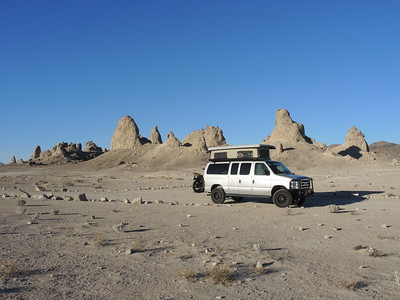 Camping by ourselves at Trona Pinnacles.  We drove down with the motorcycle on the hitch; and the spare tire and black box inside the van .   03-18-2018, Photo by Sherry.