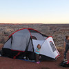Our campsite at the Horseshoe Canyon trailhead, on the edge of a cliff