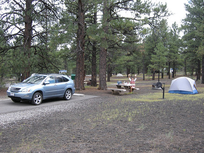 At our campsite on the edge of Sunset Crater National Monument. We used my old REI Half Dome tent this night, but later decided Michèle's tent was preferable, since it has a vestibule.