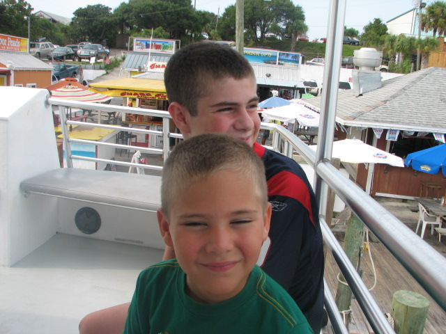 Tyler and Garrett.  Heading out on the dolphin tour.