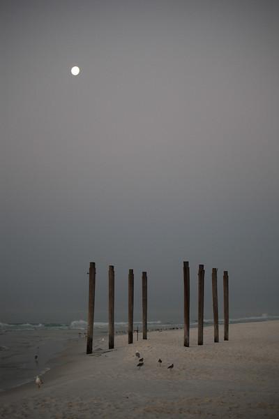 Destin Beach with just moonlight.
