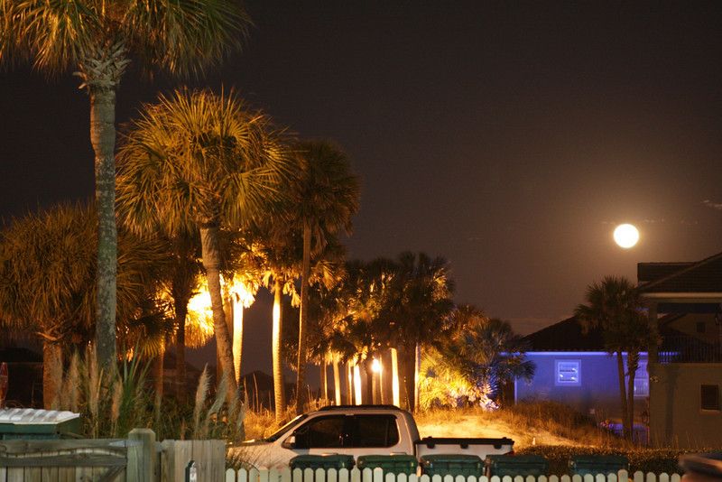 Outside our beach house at night.