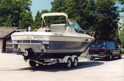 Destiny on her trailer at Sister Bay Marina