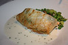Renee's main:<br /> Phyllo-Wrapped Salmon Fillet<br /> With Sun-dried Tomato, Garlic Cream Cheese on Fava Beans, and Green Pea Ragoût