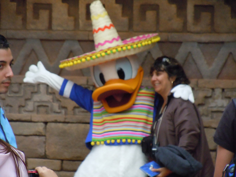 Donald Duck visiting the Mexico section of the park.