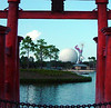 View of Spaceship Earth from the Japanese Pavilion in Epcot Center.