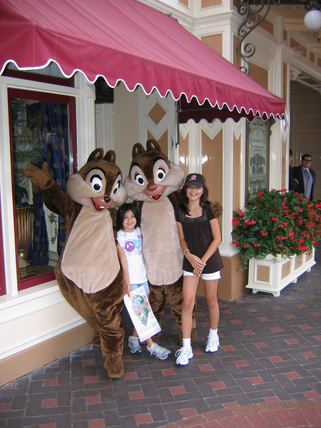 Chip and Dale posing with Evelyn and Heather