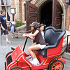 Evelyn and Heather driving outside at Mr. Toad's Wild Ride