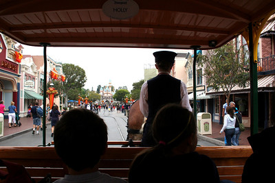 We decided to ride in the horse-drawn streetcar.