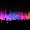 The show uses 1,200 fountains that can shoot water up to 200 ft (61 m) in the air. Each fountain is equipped with an LED light ring. Other water features include a 380-foot (120 m)-long mist screen on which images are projected (similar but smaller screens are used in Fantasmic! at Disneyland and Disney's Hollywood Studios at Walt Disney World in Lake Buena Vista, Florida). Fire nozzles are capable of shooting flames up to 50 ft (15 m) in the air.[5] Fog and lasers are used.[6] Projection domes emerge from the water atop telescopic masts and feature lighting effects and video projected onto the inside surface of the domes.[7] A 65' tall telescopic mast[8] was installed in the lagoon to create Chernabog of Fantasia, but the tower has not been used since May 2010. Mickey's Fun Wheel has its lights synchronized throughout the show.