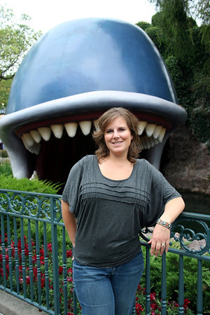 Lorinda infront of Storybook Land.