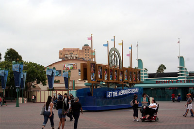 This is looking from the Disneyland entrance towards Disney California Adventure.  Back in the day this was a parking lot.