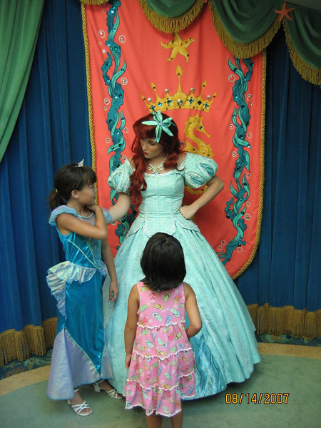 Evelyn and Heather meeting Ariel at Ariel's Grotto in Disney's California Adventure.