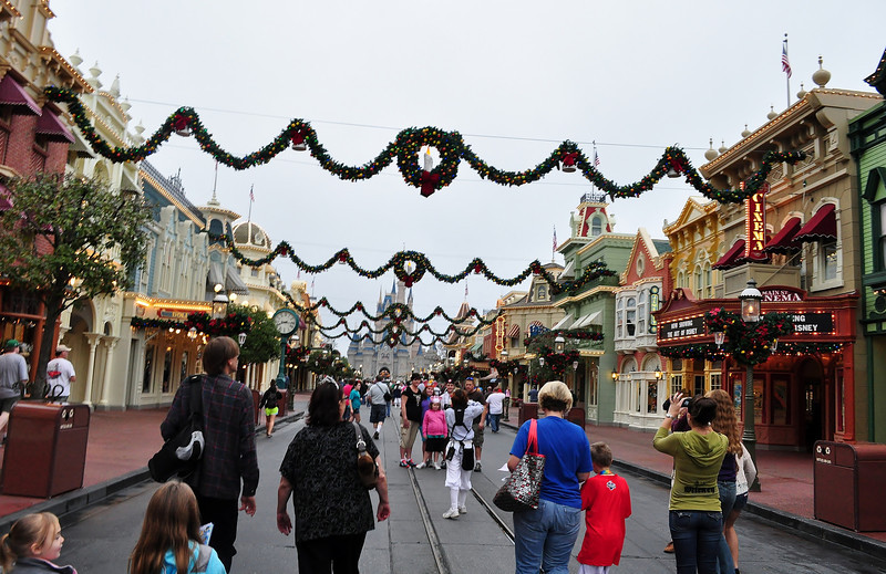 Christmas Decor down Main Street at MK.
