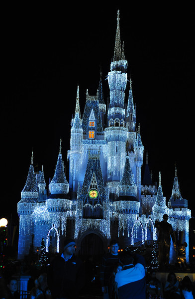 Cinderella's Castle decked out with lights.