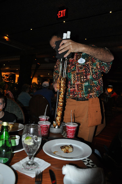 'Ohana. Let the food begin! Chicken, Pork, Steak and Shrimp served via skewers that were fantastic!