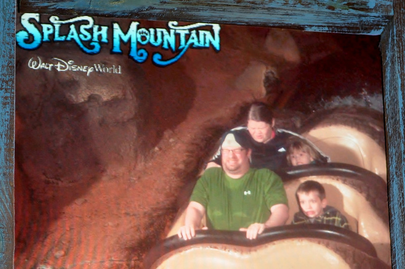 First ride on Splash Mountain-Last for Mom & Linc, first of three for Chandler & Rob.