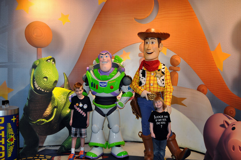 Chandler & Lincoln meeting Buzz and Woody-waited over 40 minutes for this! They loved it!