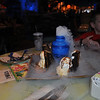 Close up of the cakes (4) and ice cream with dry ice volcano.