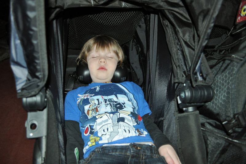 Crashed Bubba. Tuckered out at 9:30 during the Christmas Party, missed the fireworks, leaving the park, getting on the bus, the ride home and ride to hotel room... I think he was pooped.