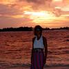 Audra, wind-blown, at sunset