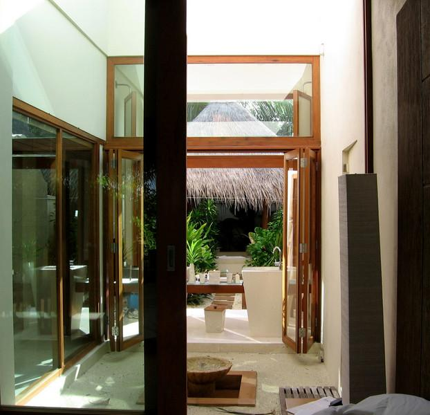 the outdoor bathroom at our beach villa