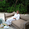 Audra in full relaxation mode preparing for her spa appointment