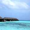 A view of the over-water bungalows from the over-water spa