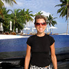 Audra in front of the infinity pool in relaxation mode