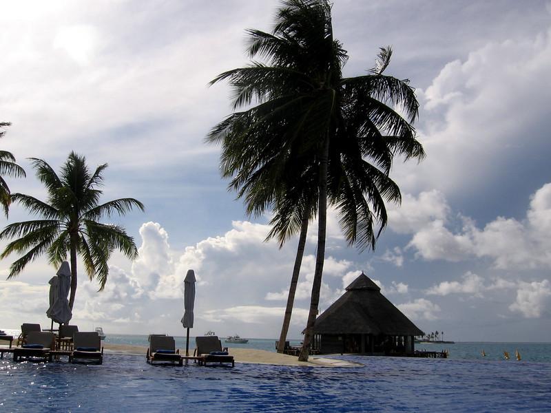 The infinity pool overlooking Rangali Bay