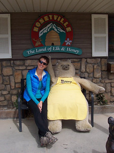 Caroline and the mascot bear at the Honeyville store north of Durango. They have a glass beehive so you can watch the bees at work and they have dozens of flavored honey spreads, honey wine (meade), and other honey-based products.