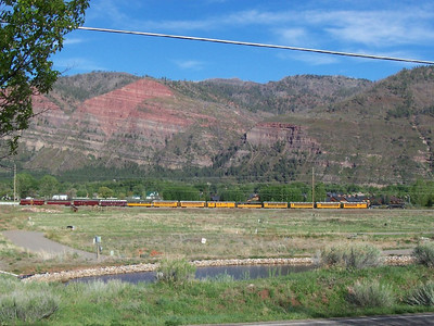The Durango-Silverton narrow guage locomotive passed by every day at 9:30AM and 3PM. Here it is on it's way back into Durango in the afternoon.