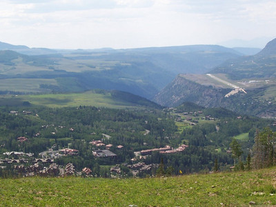 A view from the top of Telluride. The airstrip on the right looks a bit scary to take off and land!