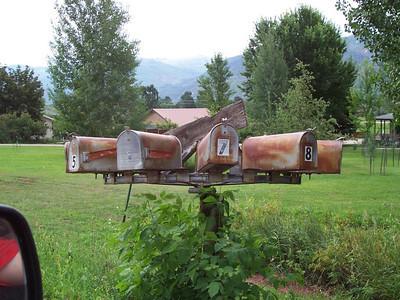 A neighborhood mailbox system near the house in Durango.
