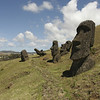 45% or 397 of the Moai are still at Rano Raraku.  The land surrounding the volcano is littered with them in various positions on their way down the hill.