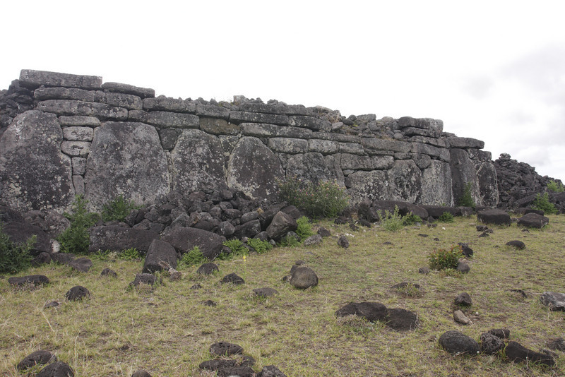 All of the Moai erected stood on flat stone mounds called Ahus.  There is some variation in how the Ahus were constructed.  Ahu Te Peu.