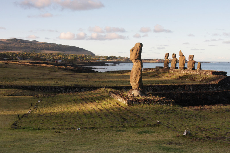 Easter Island is most famous for the carved stone statues known as Moai (Mo-Eye) in the local Polynesian language.  Tahai Ceremonial Complex.