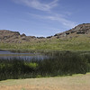 There are 2 large crater lakes in the old volcanos.  This one at Rano Raraku and another at Orongo.