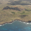 Most of the Moai were created and transported in what is called the middle period from 1100-1680.  They were carved at the volcano Ranu Raraku.  Here is a view from the plane of Ranu Raraku with Ahu Tongariki in the foreground.