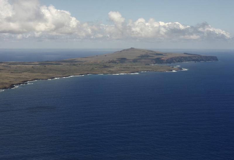 Here is a view from the plane of Poike Peninsula.  The island is covered with grassy areas and is relatively treeless.