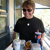 Happy Dan with milkshakes, onion rings and Walker Burgers