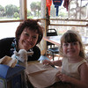 Rebecca enjoying dinner with MomMom on their trip to Edisto